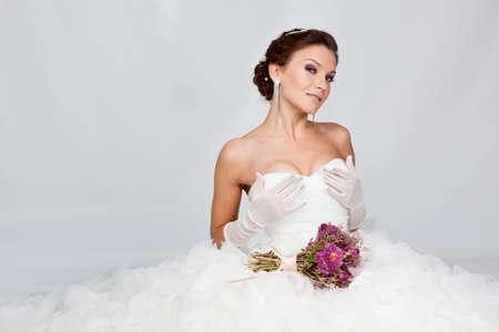 Beautiful brunette bride portrait in studio
