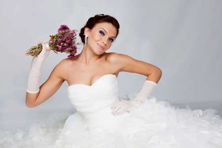 Beautiful brunette bride portrait in studio photo
