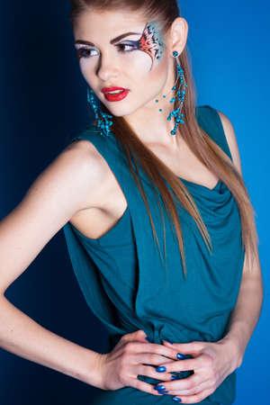fantasy makeup: Girl with fantasy make-up in studio