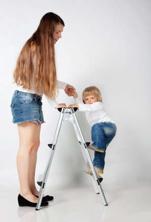 Mother with son in studio