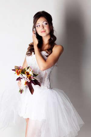 Mooie bruid portret in de studio Stockfoto