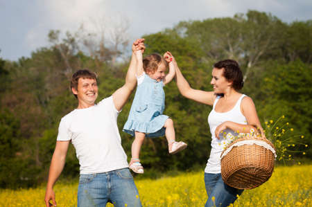 Family on the flower meadow