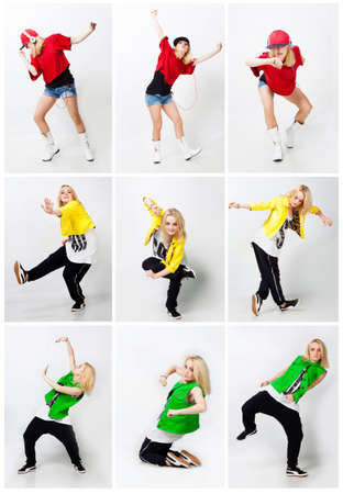 Beautiful girl dancing hip-hop in studio photo