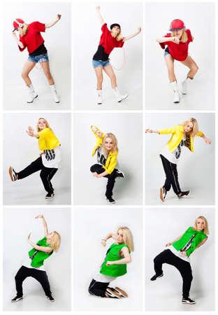 Beautiful girl dancing hip-hop in studio photo