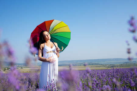 Pregnant woman with colored umbrella in the lavender field photo