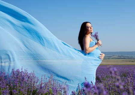 langharige mooie zwangere vrouw in een lavendelblauwe veld Stockfoto