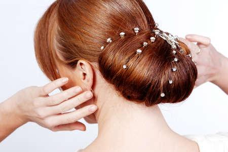 hair dress: Novia foto peinado en el estudio Foto de archivo