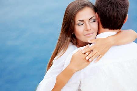 Two lovers near the sea Stockfoto