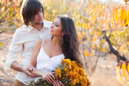 Two lovers in peach garden photo
