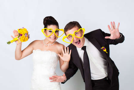 Bride and groom portrait with glasses