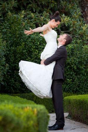 Bride and groom outdoor portrait