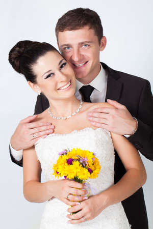 Bride and groom portrait in studio Imagens