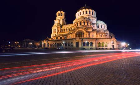 ブルガリア ソフィアの首都でのアレクサンドル ・ ネフスキー大聖堂 写真素材