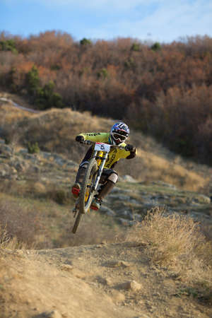 SEVASTOPOL, UKRAINE - NOVEMBER 25: Unknown racer on the competition of the mountain bike