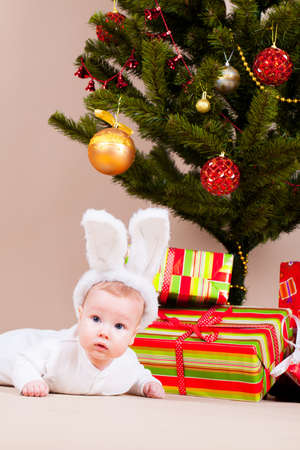 Little boy in rabbit hat laying under christmas pine photo