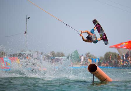 POPOVKA, UKRAINE - AUGUST 23. Unknown surfer on competition Z-Games 2012 on august 23, 2012 in Popovka, Ukraine