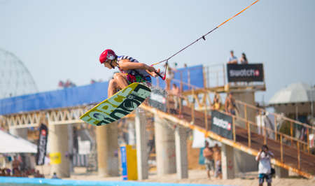POPOVKA, UKRAINE - AUGUST 23. Unknown surfer on competition Z-Games 2012 on august 23, 2012 in Popovka, Ukraine