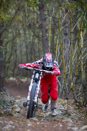 SEVASTOPOL, UKRAINE - NOVEMBER 2: Unknown racer on the training session of the mountain bike event
