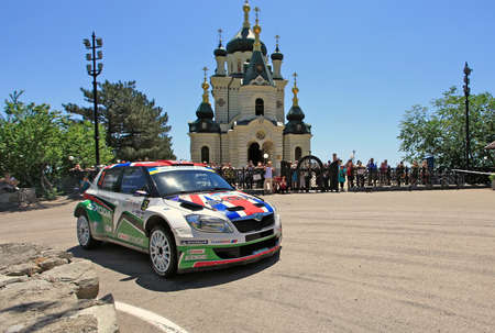 irc: FOROS, UKRAINE - JUNE 4: Andreas Mikkelsen driving his car at IRC Prime Yalta-Rally 2011, Foros, Ukraine, 4 june 2011