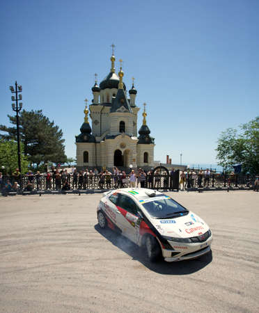FOROS, UKRAINE - JUNE 4: Martin Kangur driving his car at IRC Prime Yalta-Rally 2011, Foros, Ukraine, 4 june 2011