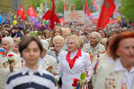 SEVASTOPOL, UKRAINE - MAY 9: Military parade in honor of victory in second world war on May 9, 2011 in Sevastopol, Ukraine