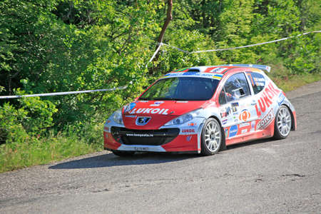 FOROS, UKRAINE - JUNE 4: Marco Tempestini driving his car at IRC Prime Yalta-Rally 2011, Foros, Ukraine, 4 june 2011