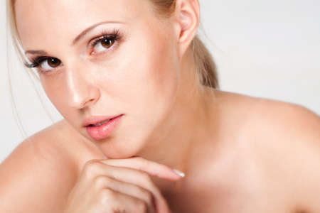naked blonde: Portrait of blonde with the ideal skin, isolated on a white background Stock Photo