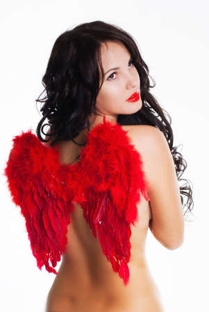 dark angel: Beautiful girl with red wings on back