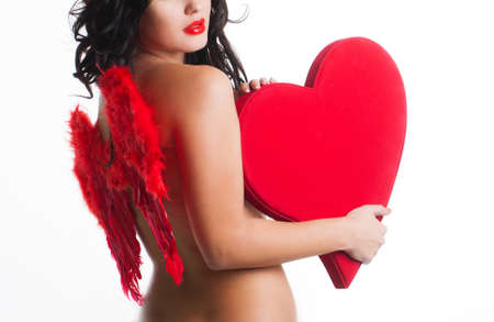 hot wings: Beautiful girl with red wings on back