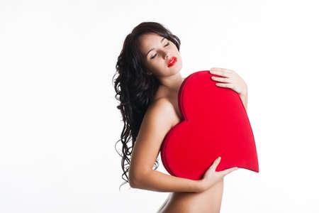 dark angel: Beautiful girl with red heart