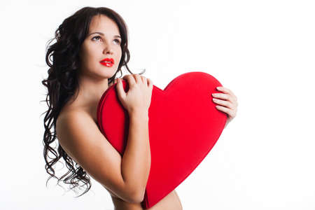 nacked: Beautiful girl with red heart