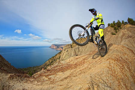 SEVASTOPOL, UKRAINE - FEBRUARY 13: Unknown racer on the competition of the mountain bike