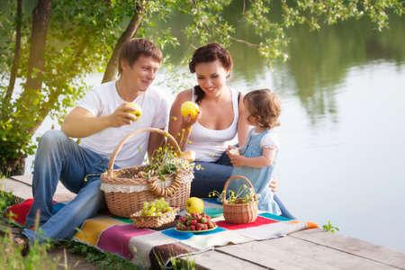 Familie op picknick Stockfoto