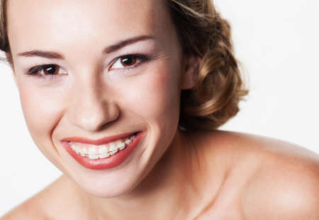 Young woman portrait with dental braces