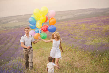 Beautiful family on the lavender field