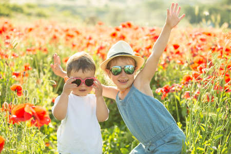 Little girl and her brother posing in a poppies