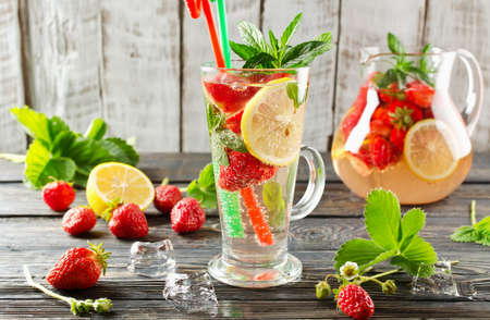 strawberry: Cold summer drink with mint strawberry and lemon