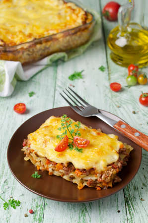 minced beef: Traditional lasagna made with minced beef Bolognese Stock Photo