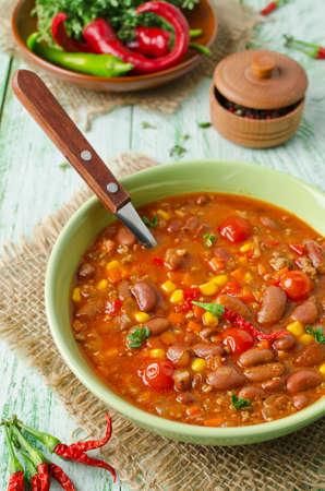 con: Mexican dish Chili Con Carne in plate Stock Photo