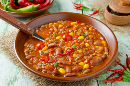 homestyle: Mexican dish Chili Con Carne in plate Stock Photo