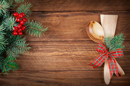 Christmas menu on wooden background. Copy space