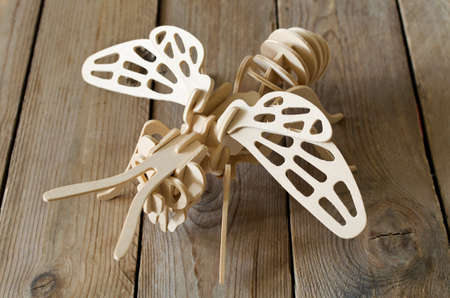 dynamic growth: The toy plane from wooden parts. Educational designer for children