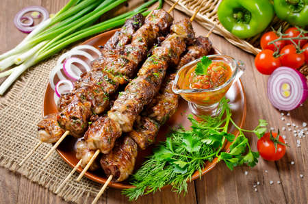 fatty liver: Grilled beef liver kebabs wrapped the fatty in a grid
