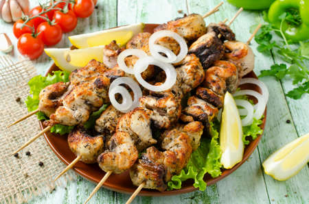 barbecuing: Grilled of catfish in lemon mint sauce. Barbecuing lunch