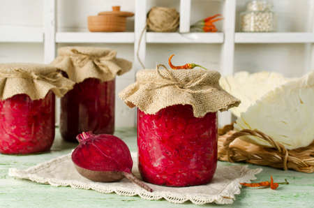 beets: Salad with cabbage and beets. Home canning Stock Photo