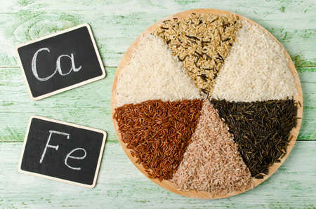 lecithin: Various varieties of rice on a wooden table. Rice is an important source of several B vitamins, minerals and complex carbohydrates.