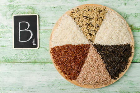 source of iron: Various varieties of rice on a wooden table. Rice is an important source of several B vitamins, minerals and complex carbohydrates.
