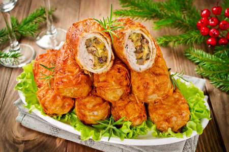 Crisp potato cutlets with meat, mushrooms and cheese. Traditional Russian food Zrazy Stock Photo