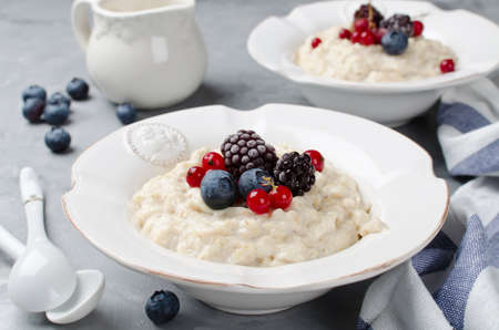 condensed: Oatmeal porridge with blueberry, blackberries and currants for breakfast