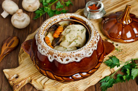 Meat dumplings with vegetables in pots. Rustic style Stock Photo
